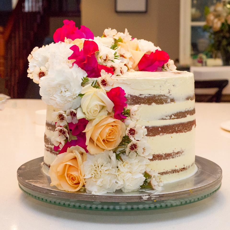 Semi Naked Cake with Cascading flowers
