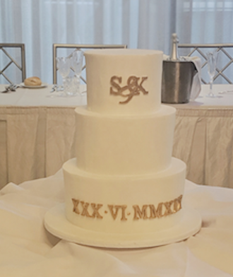 3 tier fondant white formal wedding cake