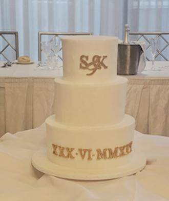 3 tier fondant white formal wedding cake