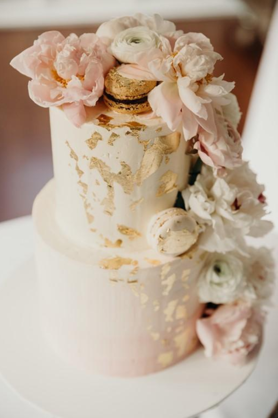 2 tier pink ombre buttercream wedding cake fresh flowers gold leaf