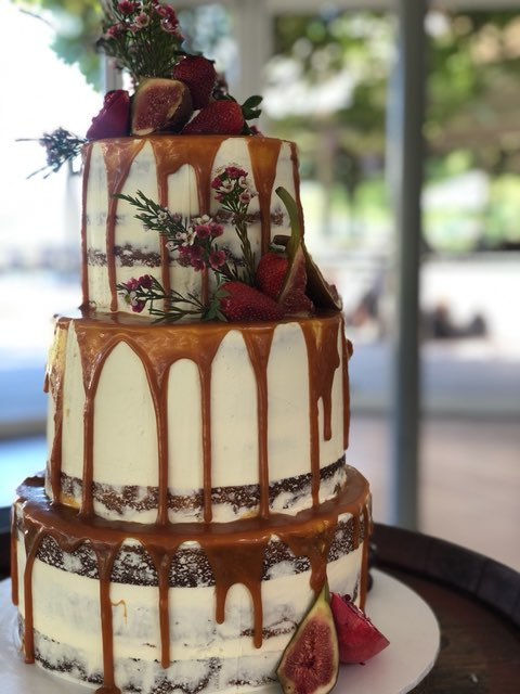 rustic semi naked buttercream wedding cake sydney caramel drip