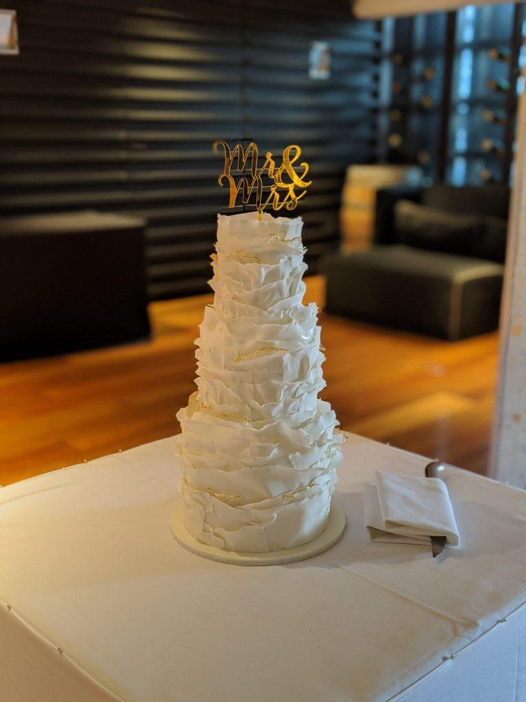 3 tier fondant frill cake. sydney wedding. formal wedding cake