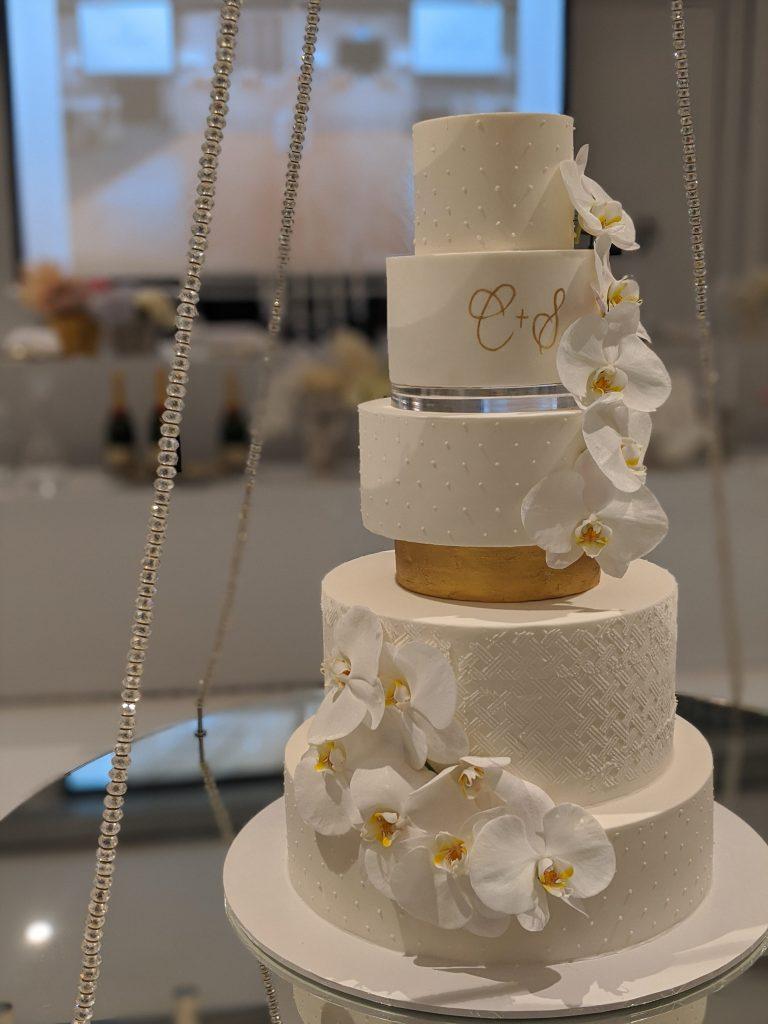5 tier formal fondant wedding cake. sydney wedding cake. orchid wedding cake