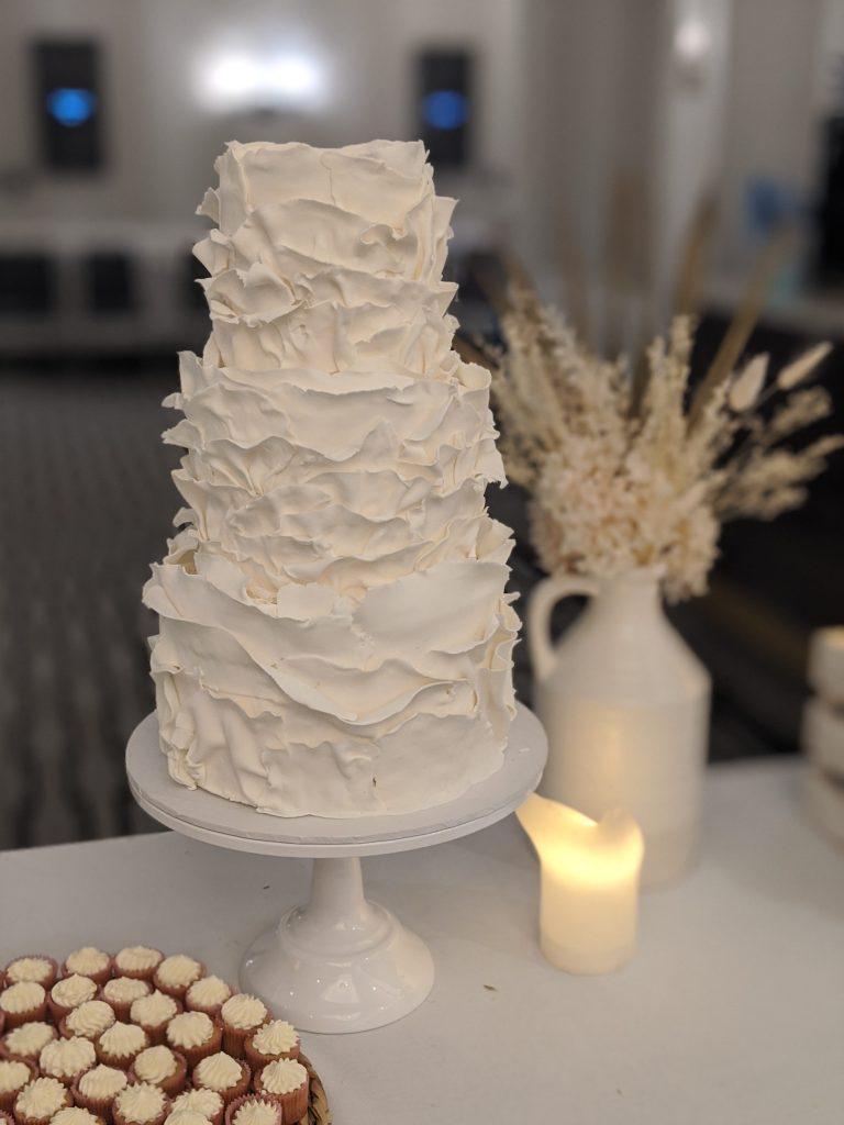 3 tier fondant frill cake. sydney wedding cake